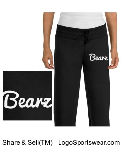 Black Ladies Fleece Bearz Joggers Design Zoom